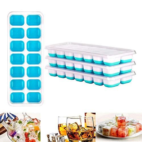 Queta Bac à Glaçons 4 PCS Cubes à Glaçons en Silicone avec Couvercle Ice Cube Tray 14 Compartiments pour Whisky, Cocktail, Boissons, Blanc + Bleu