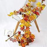 Künstliche Herbstahornblätter Girlande 2PCS, Herbst hängende Pflanze für Hausgarten Wandtür Hintergrund Kamin Dekoration, Hochzeitsfeier Thanksgiving Dekor