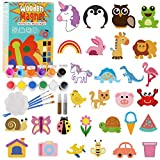 Bukm Paint Your Own Wooden Magnet - 30 Pcs Wood Painting Craft Kit, Art Kits and Paint Set for Kids, Art and Craft Supplies Party Favors for Boys Girls Age 4 5 6 7 8