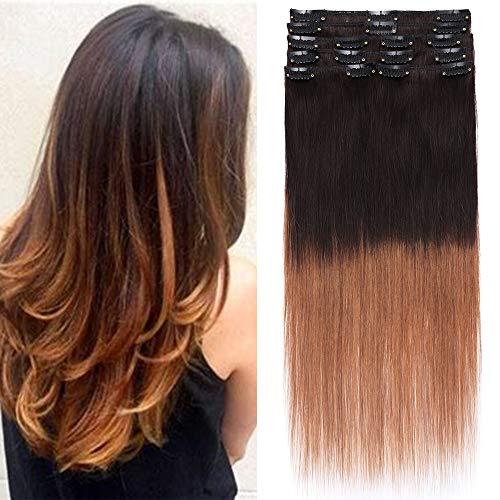 Tess Echthaar Extensions Clip In Ombre Remy Haar Extensions Guenstig Haarverlängerung 18 Clips 8 Tressen Lang Glatt 1640cm 65g 2t6