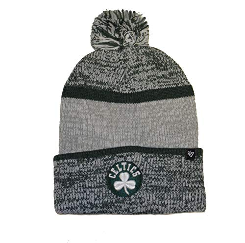 '47 Boston Celtics Cuff Copeland Beanie Hat with Pom Pom - NBA Fashion Cuffed Winter Knit Cap