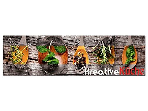 GRAZDesign Acrylglasbilder Wandbild Kräuter kreative Küche, für Esszimmer Bar, Küchenbilder als Dekoration, Glasbild aus Acryl / 180x50cm
