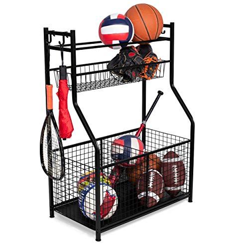 BIRDROCK HOME Sports Equipment Ball Storage Rack for Garage - Baseball, Tennis, Football, Gym and Basketball Gear Organizer - Rack - Wide Bin Basket - 4 Hooks - Tools Garden Shovels Rack - Indoor