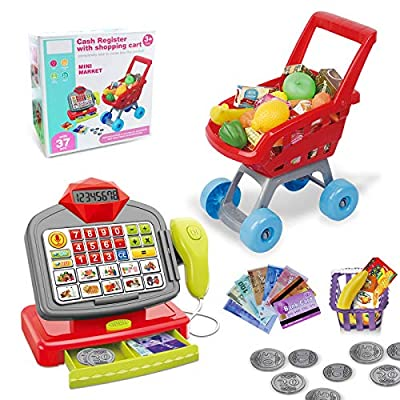 Kimiangel Cash Register with Shopping Cart, Cashier with Electronic/Scanner/Calculator/Play Food Sets and Learning Best Gifts for Kids,Shopping Cart Toy from Kimiangel
