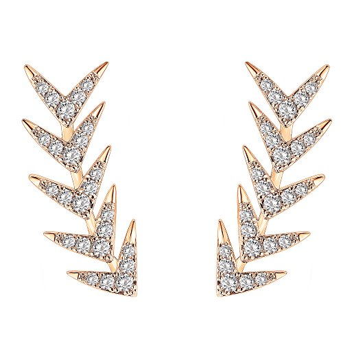 PAVOI 14K Rose Gold Plated Sterling Silver Post Climber Arrow Ear Crawler Earrings