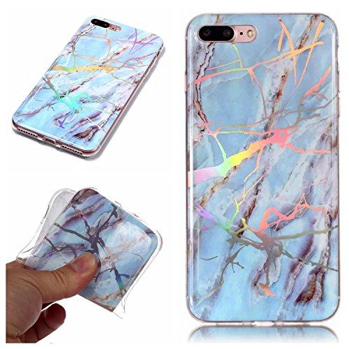 Sycode Custodia Marmo per iPhone 8 Plus 5.5',Brillante Cambia Colore Maser Marmo Silicone Protettivo Caso per iPhone 8 Plus 5.5'/7 Plus 5.5'-Blu