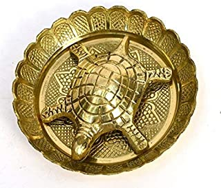 Tortoise with Plate Turtle with Plate Pure Brass Best for Office Decoration, Home Decor Statue Feng Shui Metal Water Plate...