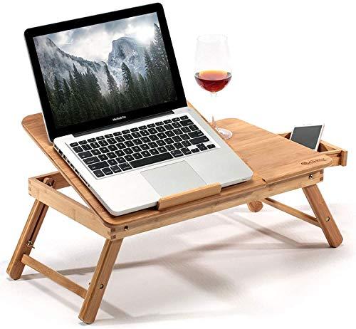 Burhetten Cama ajustable en 5 posiciones, mesa de café de bambú para portátil plegable con sistema de ventilación