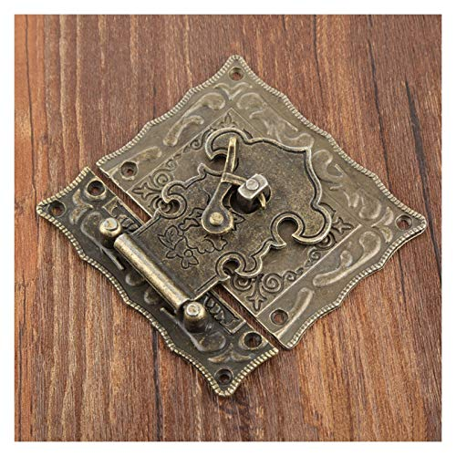 1Pc Hasp Antique Bronze Jewelry Wooden Box Hasps Latches Decorative Suitcases Latch Buckle Clasp Furniture Hardware 84 * 81mm