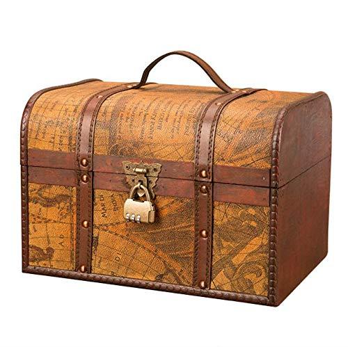 Trousses à Maquillage Boîte en Bois Classique européenne rétro boîte de Rangement créatif Coffre à trésor Antique Ornements ménage Cadeau de décoration de Maison Vintage , 30x20x20cm