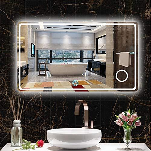 AYYEBO Rectangular Espejo Pared para Baño con Luces LED Blancas con Retroiluminación Cálida Interruptor Táctil Regulable Espejo Vanidad con Aumento 3X (Size : 70x90cm)