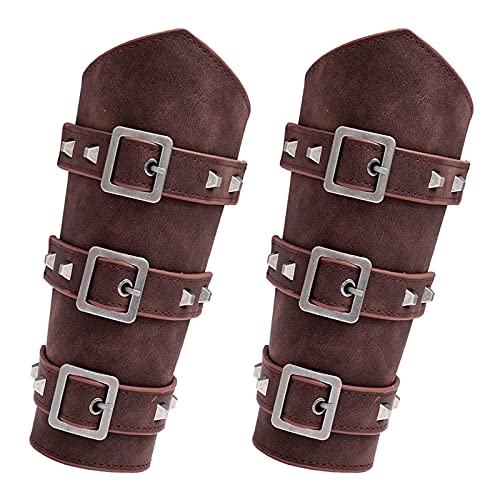JEWPARK 2 PCS Faux Leather Arm Guards Medieval Belt Leather Buckle Bracers Leather Armband Pair 2BR