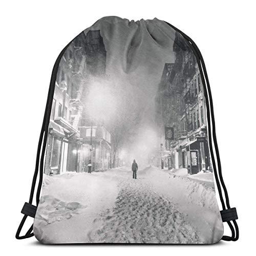 Galoov Blizzard In New York City Shoulder Drawstring Bag Backpack String Bags School Rucksack Gym Sport Bag Lightweight