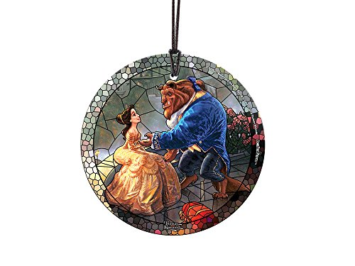 Trend Setters Disney - Beauty and The Beast - Stained Glass Effect - Starfire Prints Hanging Glass – Light Catching Hanging Décor – Ideal for Gifting and Collecting