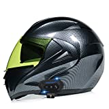 ZhangHai Casco de Moto Bluetooth Integrado Flip Up Casco Moto Integral Modular Casco Certificación ECE con Doble Visera Casco Motocross para Hombre Y Mujer Adulto Motocicleta Casco Scooter