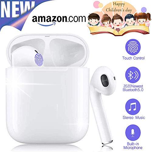 COMPAS i12 TWS Bluetooth kopfhörer 5.0, Touch-Steuertasten, kabellose Ohrhörer mit Schnellladekoffer, 3D-Stereoanlage und wasserdichte IPX7-Ohrhörer für Apple Airpods/iPhone/Huawei/Samsung -Weiß