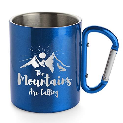 Creativgravur® Doppelwandige Edelstahl Tasse 280 ml Thermobecher mit Karabinerhaken - leicht für Camping oder Outdoor, Farbe:Blau, Motiv (Größe):Motiv 06