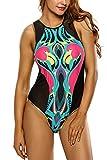Bañador De Dos Piezas Mujer Bikini Monokini Cómodo Beach Swimwear Retro Flamencos Patrón Dorado Borde Diseño Negro ES 38