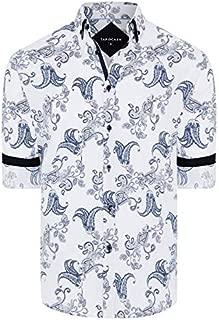 Tarocash Men's Romero Slim Stretch Print Shirt Slim Fit Long Sleeve Sizes XS-5XL for Going Out Smart Occasionwear
