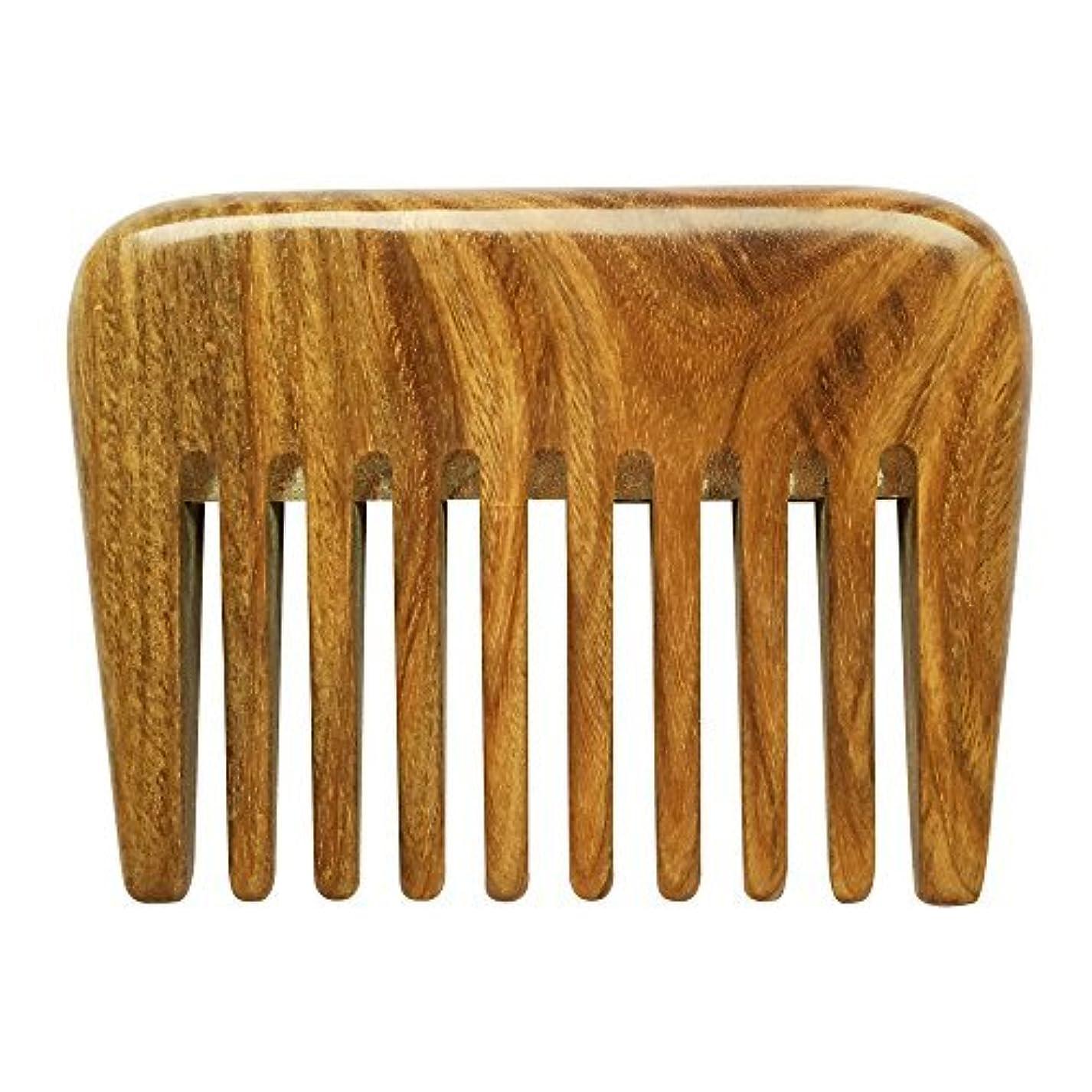 征服謝罪する警告するBeneAlways Portable Hair & Beard Comb/Pick ? Made From One Whole Piece of Natural Green Sandalwood with Fragrant Scent (Wide Tooth) [並行輸入品]