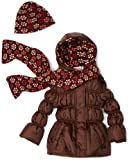 Pink Platinum Little Girls'  Solid Puffer with Floral Printed Lining Outerwear, Brown, 3T