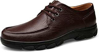 Men's Fashion Oxford Casual Comfy Breathable Lace Leather Flat Heel Schematic Shoes casual shoes (Color : Brown, Size : 47 EU)