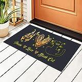 Felpudo para puerta de entrada de gato negro Peace Love con...