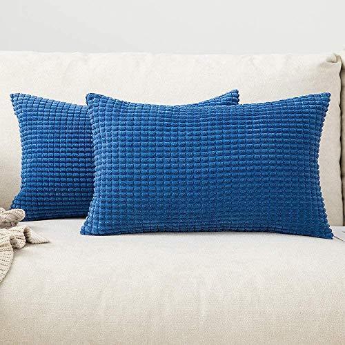 Chenso Juego de 2 Fundas de cojín cuadradas Decorativas sólidas de Pana Suave de maíz Grande para sofá dormitorio-12 x 20', 2 Piezas_Aguamarina