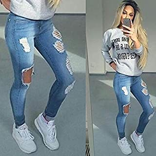 WALEI Women Ladies Fashion Dark Blue Ripped Skiny Jeans Sexy Denim Pants Jeans Femme (Blue,XXXS)
