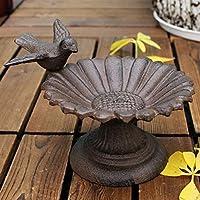 素朴な鳥ひまわり卓上鋳鉄鳥フィーダー ラウンドベース付き アンティーク素朴 家の庭の装飾ヘビーメタル 庭の装飾の鳥の餌箱 (Size : 18x13x11cm)