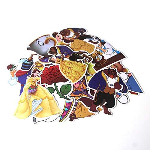 WYDML Pegatinas de La Bella y la Bestia, Caja de Viaje, monopatín, refrigerador, Cuaderno, Dibujos Animados Decorados, Pegatinas de Dibujos Animados de PVC, 18 Piezas