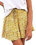 Alelly Falda de verano linda de cintura alta con volantes y estampado floral para mujer - amarillo - Small