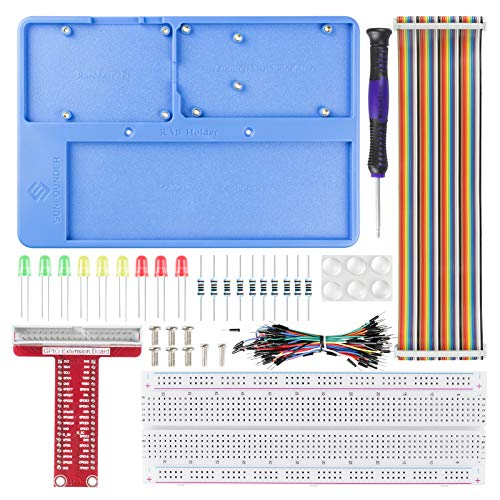 SUNFOUNDER RAB Holder Kit - Raspberry Pi Breadboard Kit with 830 Points solderless Circuit Board for Arduino & Raspberry Pi 4B, 3B+, 3B, 2B, 1 Model B+ A+