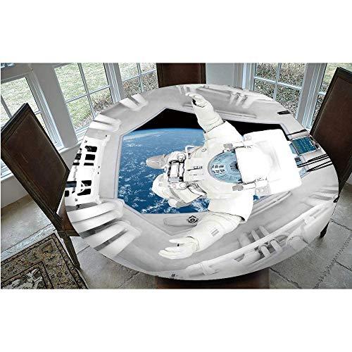 Cubierta de mesa ajustable de poliéster con bordes elásticos, para mesas ovaladas/Olbong de 61 x 122 cm, para eventos interiores y exteriores, color blanco y azul