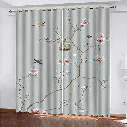 MPHWCL Thermal Insulated Blackout Curtains - Creative tree vine bird cage - 3D Print Pattern with Eyelets for Living Room Acoustic Curtains - 104 x 83 Inch Drop - for Kids Girls Bedroom Living Roo