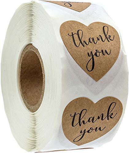 "Brown Kraft Heart Shape Thank You Sticker Labels - 500 Stickers, 1 1/8"", 1.125"""