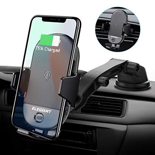 ELEGIANT Handyhalterung Auto 15W Wireless Charger KFZ Handyhalter Infrarot Sensor Halterung Ladegerät Lüftungs- & Saugnapfshalterung für Galaxy S20 /S20+ /S20 Ultra iPhone XS alle Qi Fähige Geräte