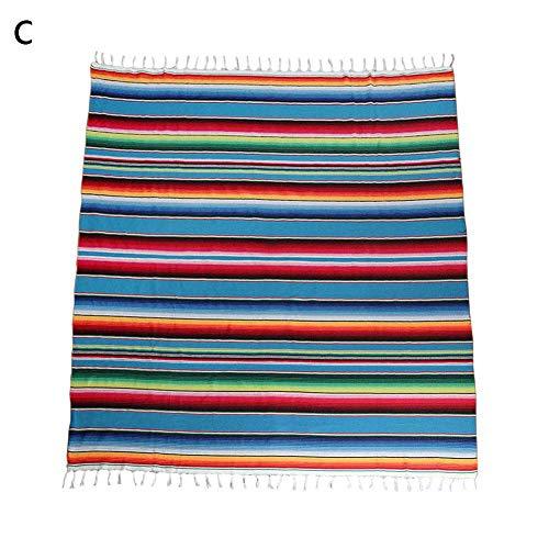 Mexikanischen Stil Decke gestreiften Regenbogen Muster Tischdecke für mexikanische Hochzeitsfeier Dekorationen, große quadratische Baumwolle Tischdecke mexikanischen Saltillo Decke Karneval Quaste