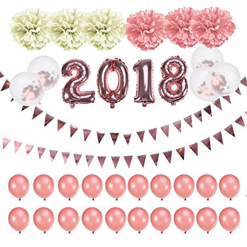 2018 roze ballon met hangende Garland Banner folieballonnen latex ballonnen papier pompons voor verjaardag, bruiloft, Kerstmis oudejaarsavond party supplies - 33 stuks elise