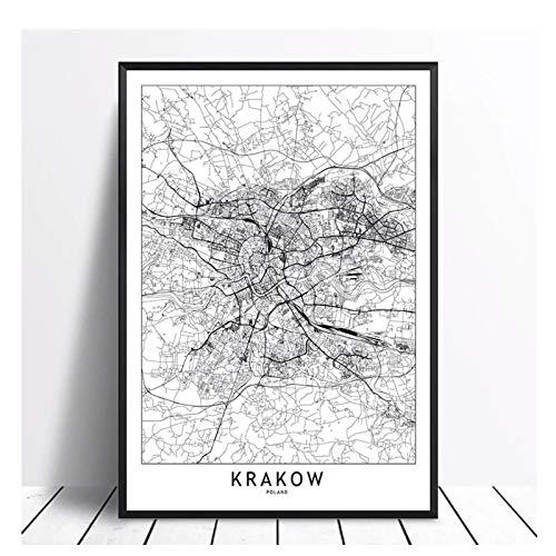 Kraków czarno-biały świat mapa miasta plakaty drukuje płótno ścienne do salonu wystrój domu -20X28 cali bez ramki
