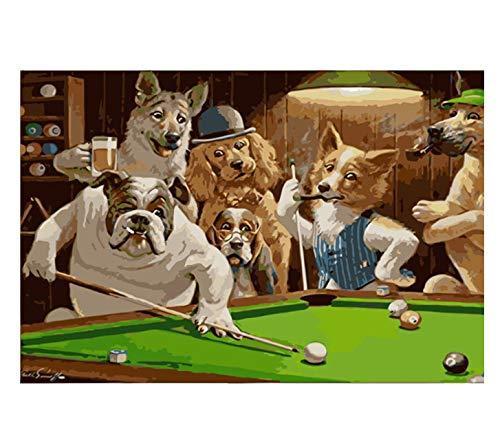 huayao Hund Party Bier DIY Digitales Malen Nach Zahlen Moderne Wandkunst Leinwand Malerei 50X65 cm Kein Rahmen