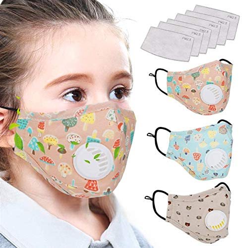 MakerHawk Cotton Mask with Breath Valves for Kids, 3pcs Washable Reusable Cloth Mask Cute Cotton Face Mask with Filter and 6pcs Activated Carbon Pm 2.5 Tablets for Outdoor