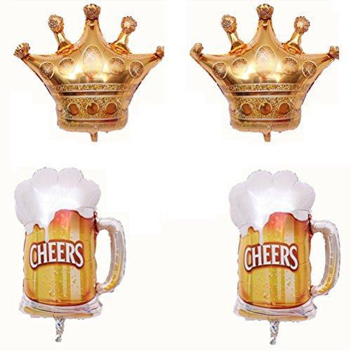 Toyvian Globos Grandes de la Taza de Cerveza de la Corona | 4 PC, decoración de la Boda de la Fiesta de cumpleaños de los Adultos