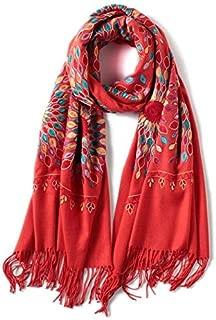 Scarf Scarfs Women Winter Scarf for Women Vintage Embroidery Thick Warm Cotton Scarves Shawls and Wraps Pashmina Ladies Bandana Echarpe (Color : Orange)