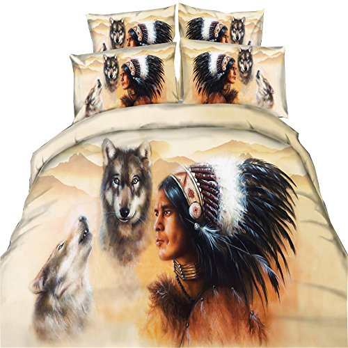 EsyDreamhome 3D Oil Indian Werewolf Print Boys Duvet Cover Sets 3PC/Set 3D Oil Indian Werewolf Men's Bedding Bedspreads Twin Queen King Size No Quilt(Twin,Color 2