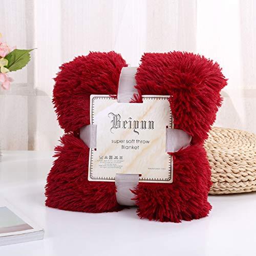 KHDJ Lush Superweiche Decke Kunstfell Zotteldecke mit Kristall-Fleece auf der Rückseite, kuschelig, flauschig, lang, flauschig, für Sofa, Couch & Bett, Dekor, doppelschichtig,Rot,200 * 230cm
