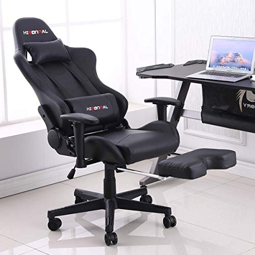 Hironpal Gaming Chair with Footrest, Home Office PC Desk Computer Racing Executive Chair, Ergonomic Swivel 180° Reclining Leather Chair Adjustable with Lumbar and Headrest Cushion 3D Armrest