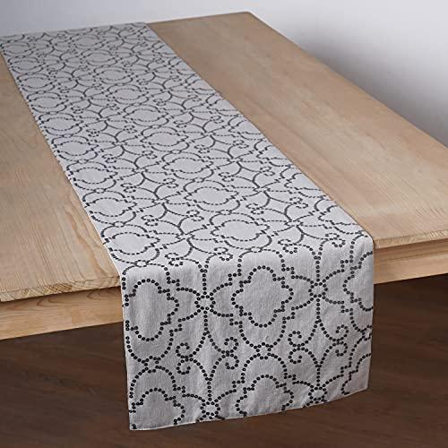 VLiving Camino de mesa con lentejuelas bordadas de patrón marroquí gris para mesa/tapete de mesa, tela de mezcla de lino, 13 x 72 pulgadas