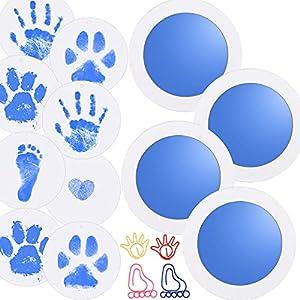 Nabance Kit huella bebe, 8 Tarjetas de Impresión y 4 Plantillas, Kit de Huellas de Perro o Mascota, Manos Almohadillas de Tinta No Tóxicas, No se Mancha, para babies aged 0-6 months, Azul