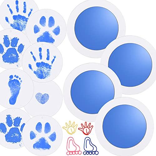 Nabance 4pcs Baby Fussabdruck set Handabdruck Baby Clean Touch Stempelkissen Abdruck Kinder Abdruck Set Baby Hand and Footprint Kit für Neugeborene Baby Hundepfoten Katze Familie Geschenk Blau